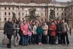 На фоне презедентского дворца.